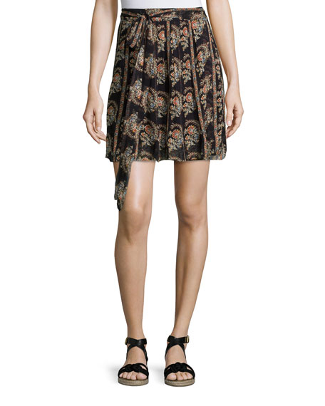 Isabel Marant Etoile Sistle Printed Silk Wrap Skirt, Black