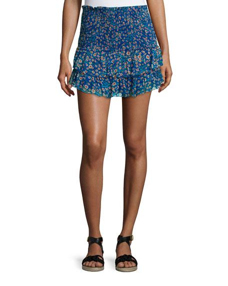 Isabel Marant Etoile Serek Smocked Chiffon Skirt, Electric Blue