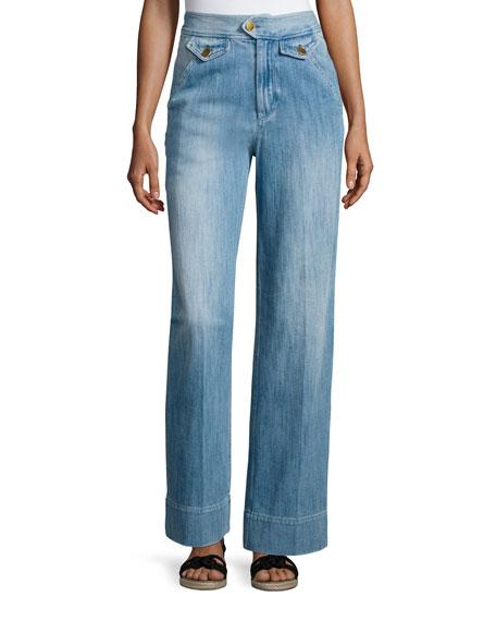 Isabel Marant Etoile Odessa Wide-Leg Denim Pants, Blue