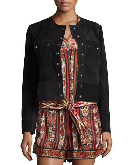 Isabel Marant Etoile Allard Suede Short Jacket, Faded Black