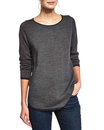 Long-Sleeve Striped Merino Top