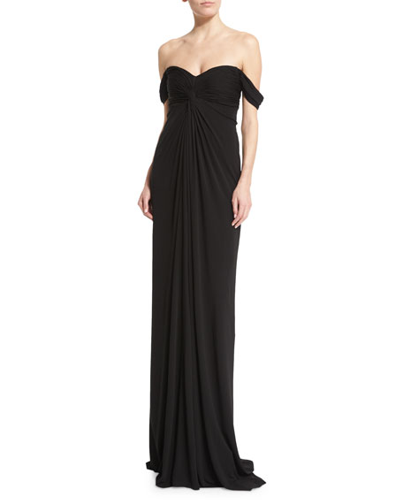 David Meister Off-the-Shoulder Jersey Column Gown