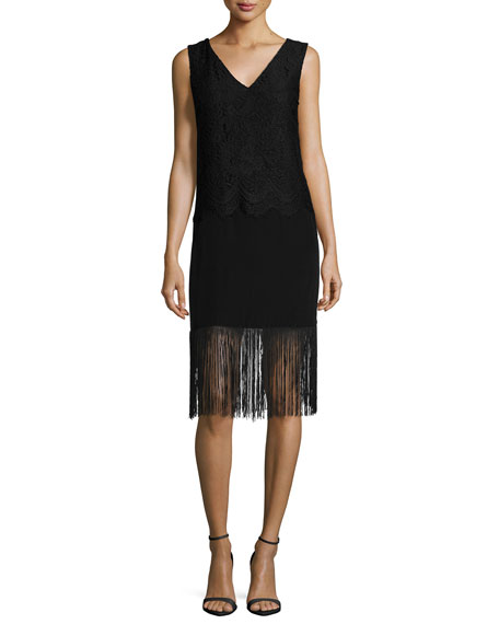 Nicole Miller Sleeveless Lace-Top Cocktail Dress with Fringe