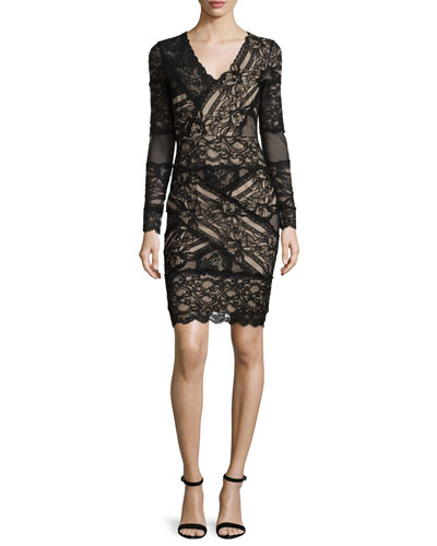 Long-Sleeve Lace Sheath Cocktail Dress