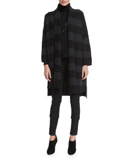 Wide-Striped Long Coat, Black/Charcoal