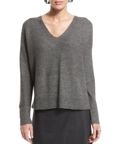 Long-Sleeve V-Neck Top, Petite