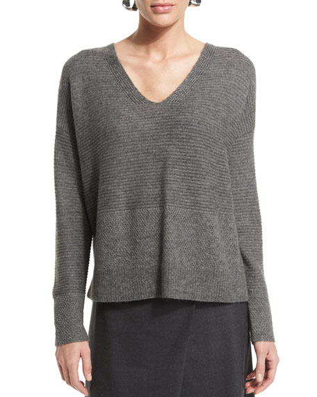 Eileen Fisher Long-Sleeve V-Neck Top, Petite