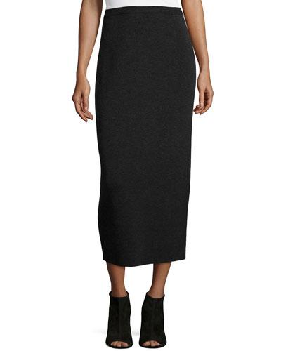 Washable Wool Midi Pencil Skirt, Charcoal
