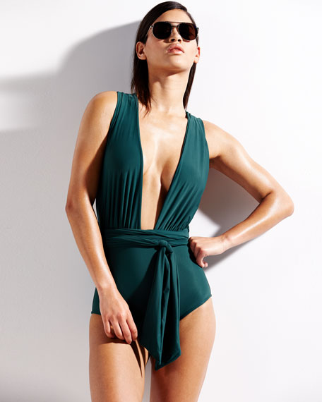 Chic Plunge-Neck One-Piece Swimsuit