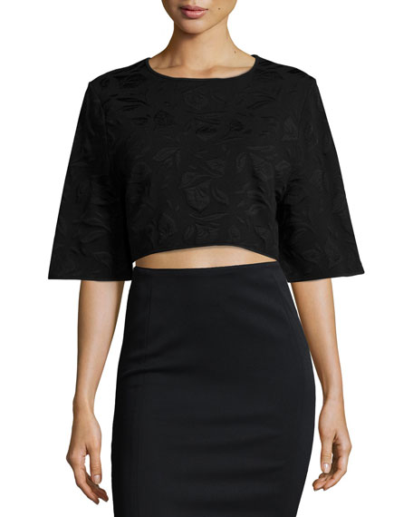 ZAC Zac Posen Tracy Half-Sleeve Crop Top, Black