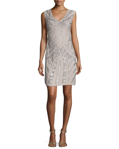 Aidan Mattox Cap-Sleeve Embellished Cocktail Dress, Stone