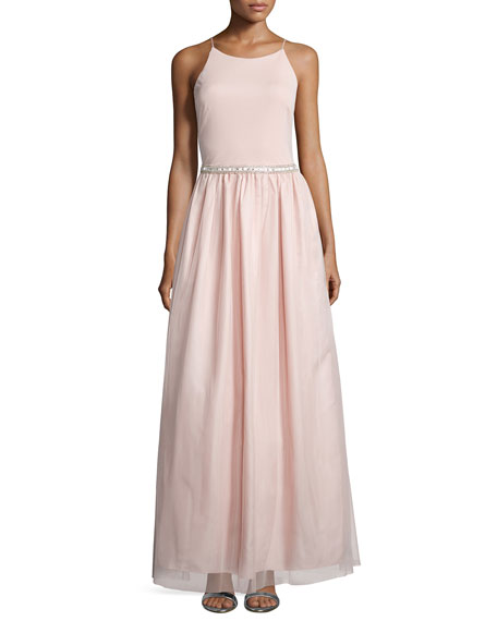 Aidan Mattox Sleeveless Embellished-Waist Ball Gown, Petal