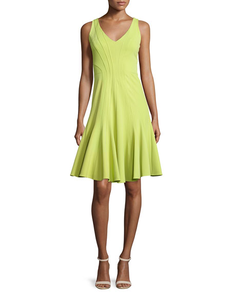 ZAC Zac Posen Addisyn V-Neck Fit-&-Flare Dress, Moss