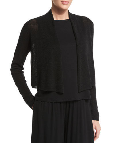 Organic Polished-Linen Cropped Cardigan, Black, Petite