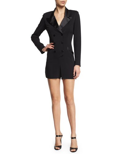 Nicole Miller Artelier Long-Sleeve Double-Breasted Tuxedo Short Romper