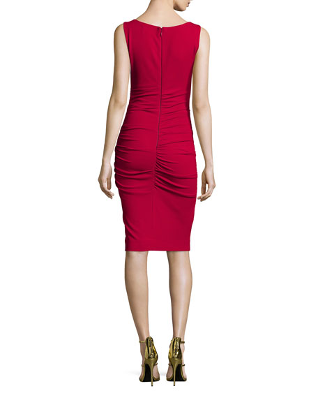 Lauren Sleeveless Ruched Sheath Dress