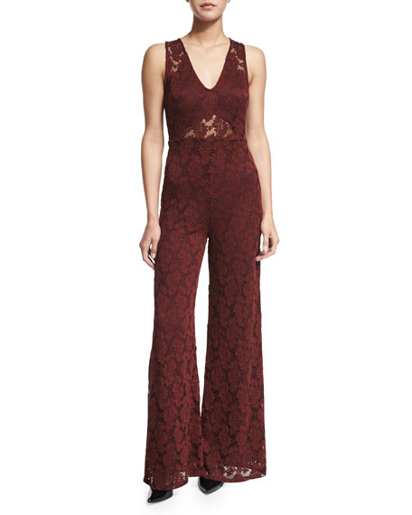 Nightcap Clothing Heidi Wide-Leg Lace Catsuit, Merlot