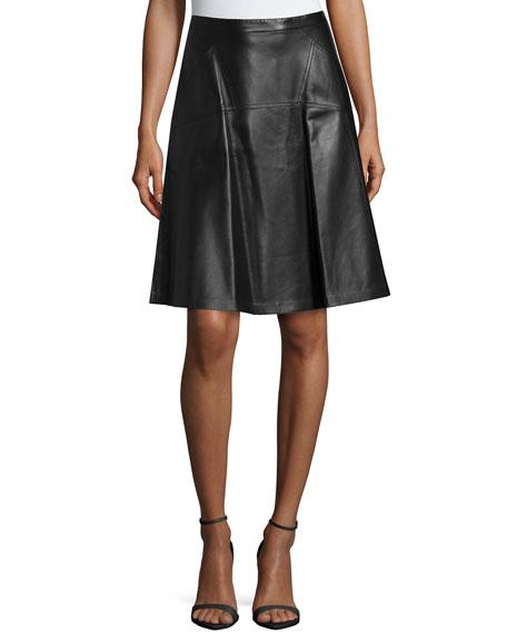 michael kors leather flare skirt black