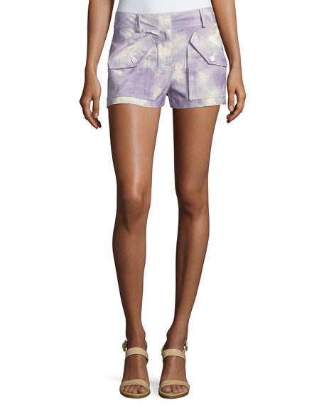Michael Kors Collection Tie-Dye Cargo Shorts, Wisteria