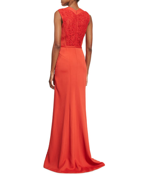 Sleeveless Lace-Inset Gown, Rouge