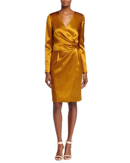 J. Mendel Silk Long-Sleeve Deep-V Wrap Dress, Ochre