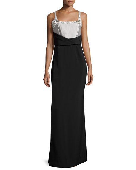 J. Mendel Sleeveless Colorblock Gown, Gris