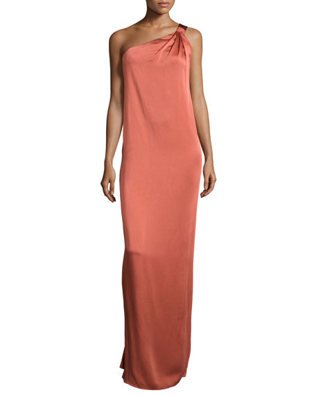 Rachel Zoe One-Shoulder Ruffle-Back Gown