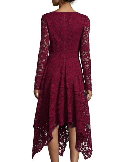 Long-Sleeve Lace Hanky-Hem Cocktail Dress