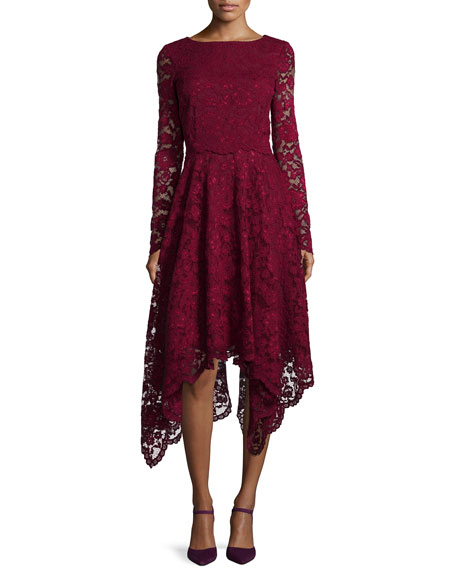 Badgley Mischka Long-Sleeve Lace Hanky-Hem Cocktail Dress