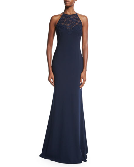 Badgley Mischka Halter Lace-Bodice Gown