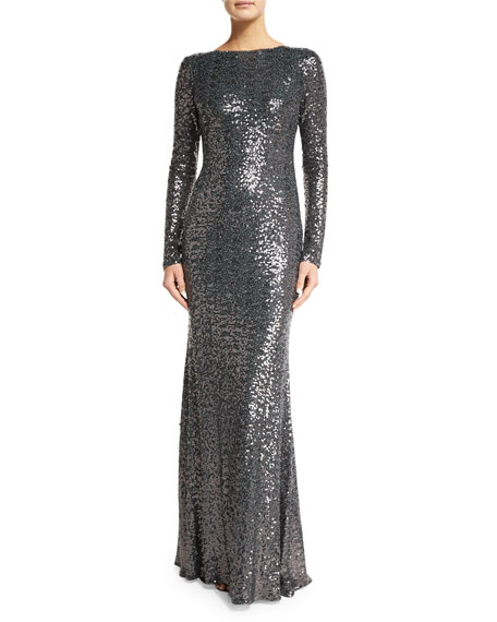 Badgley Mischka Long-Sleeve Cowl-Back Sequined Mermaid Gown