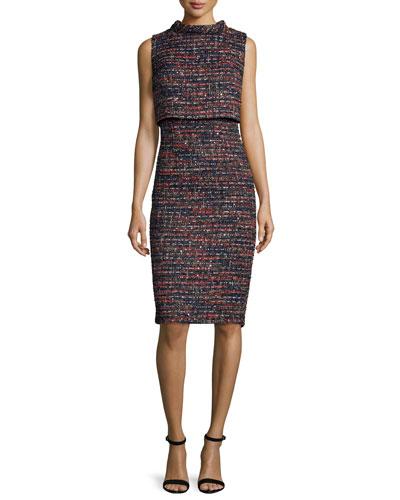 Sleeveless Tweed Popover Dress