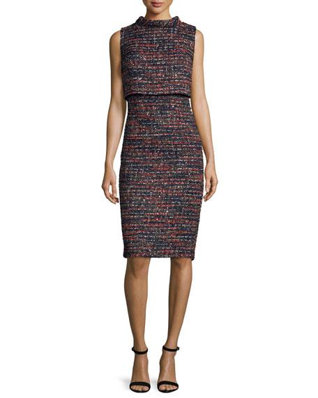 Badgley Mischka Sleeveless Tweed Popover Dress