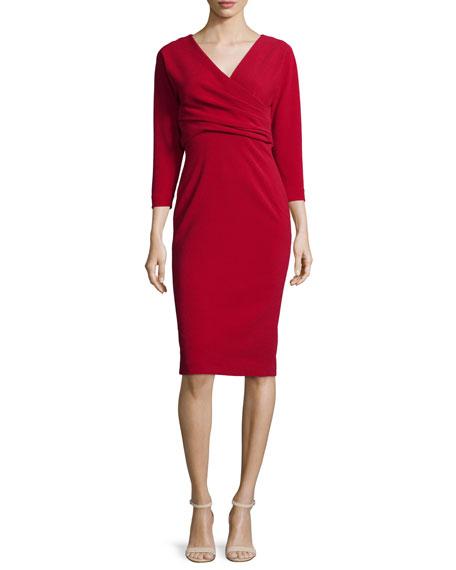 Badgley Mischka 3/4-Sleeve Crossover Sheath Dress