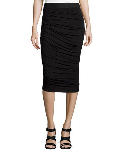 Scotty Ruched Pencil Skirt, Black
