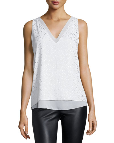 Harper Metallic Dot-Print Top, White