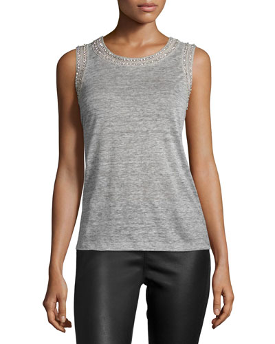Lucy Embellished Sleeveless Linen Top, Gray