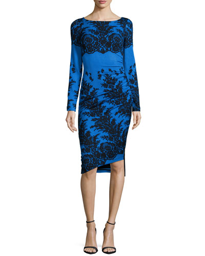 Long-Sleeve Sheath Dress, Sapphire Lace