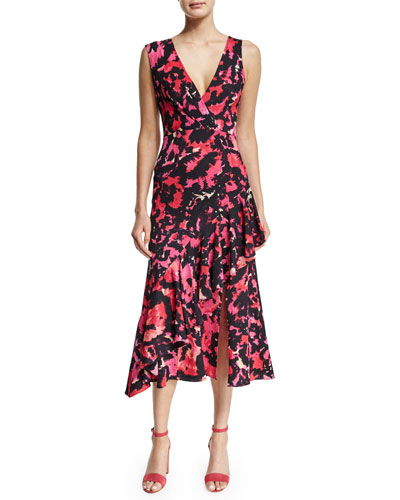 Sleeveless Printed Midi Dress, Hot Pink/Floral/Multi