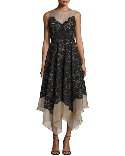 Sleeveless Lace Midi Dress, Black
