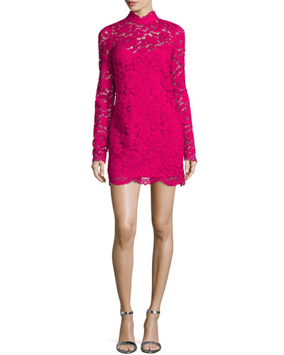 Long-Sleeve Lace Mini Dress, Geranium