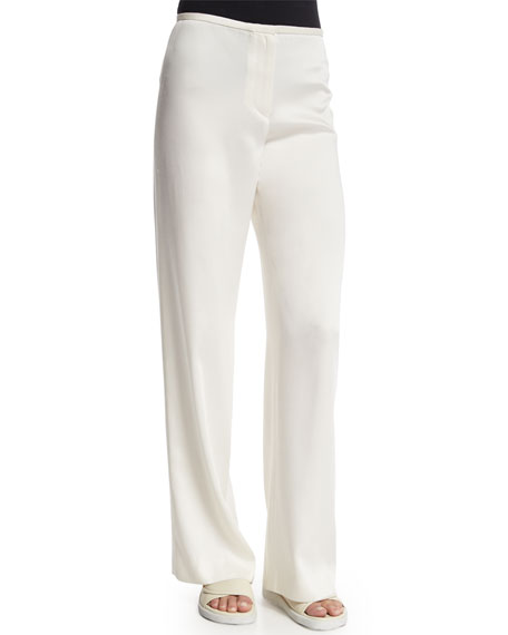 Helmut Lang Cropped Cashmere Sweater & Woven Wide-Leg