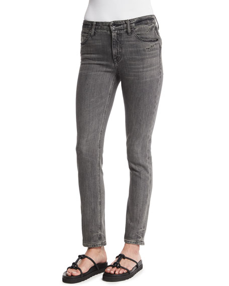 Helmut Lang Skinny Denim Ankle Jeans, Light Gray