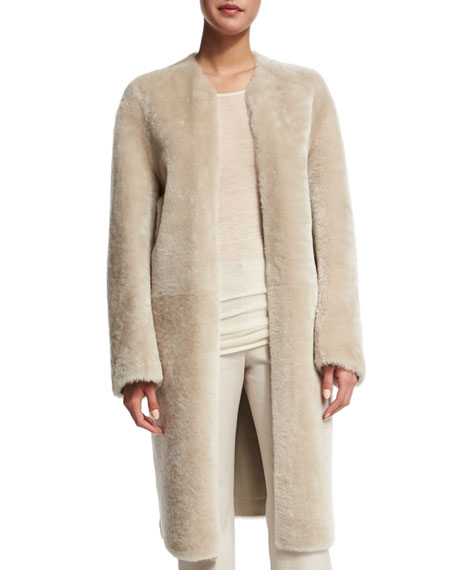 Glossy Shearling Fur Coat, Oyster