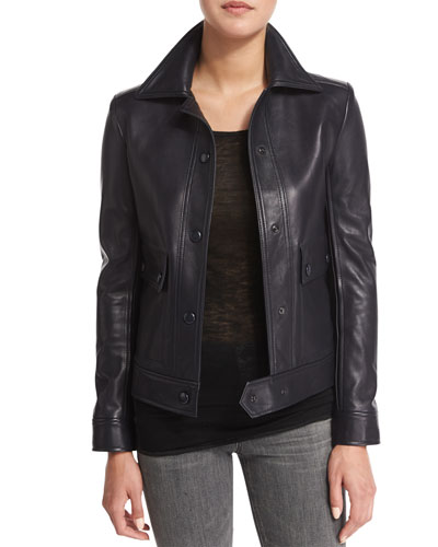 Snap-Front Leather Moto Jacket, Navy