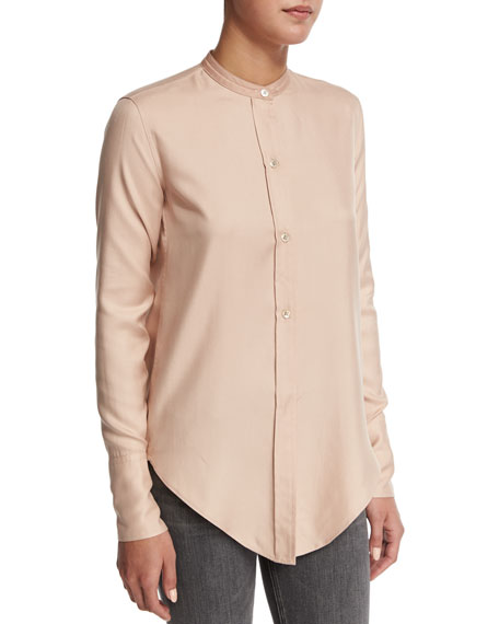 Helmut Lang Tuxedo Silk Button-Front Shirt, Apricot