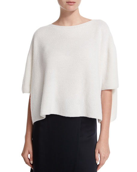 Helmut Lang Cropped Boxy Cashmere Sweater, White