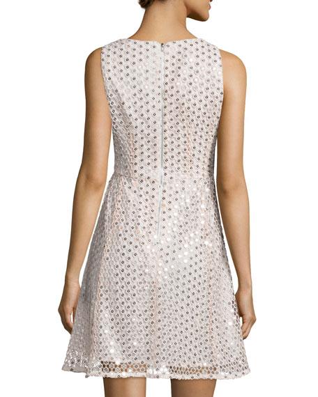 Sleeveless Embellished Party Dress, Ivory