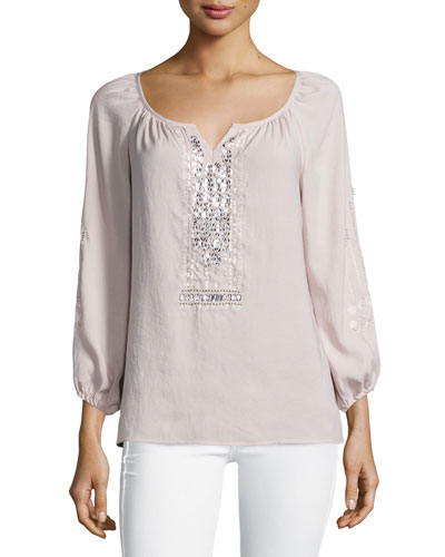 Long-Sleeve Embellished Peasant Blouse, Blush