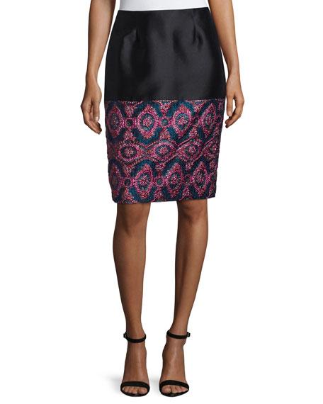 Prabal Gurung Contrast Pencil Skirt, Pink/Blue